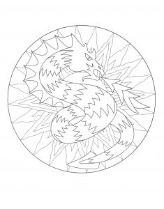 Coloring free mandala dragon 3