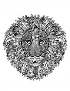 Lion head with complex and precise patterns