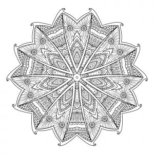 Difficult Mandala with flowers