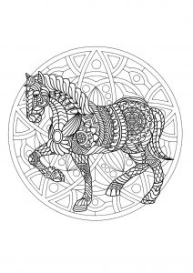 Complex Mandala coloring page with horse   1