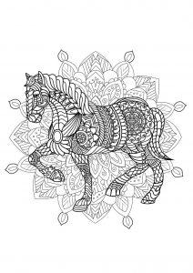 Complex Mandala coloring page with horse   2