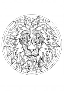 Complex Mandala coloring page with majestic Lion head - 1