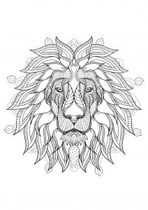 Complex Mandala coloring page with majestic Lion head   2