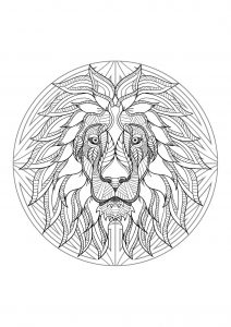 Complex Mandala coloring page with majestic Lion head   4