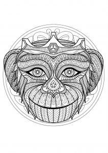 Complex Mandala coloring page with Monkey head   1