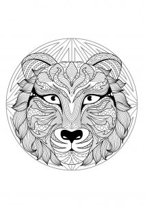 Complex Mandala coloring page with tiger   2