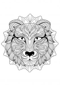 Complex Mandala coloring page with tiger   4