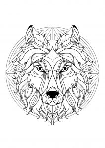 Complex Mandala coloring page with wolf head   1