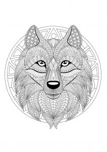 Complex Mandala coloring page with complex wolf head   2