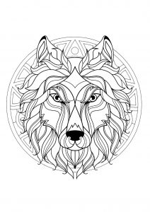 Complex Mandala coloring page with wolf head   3