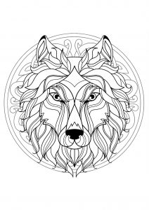 Complex Mandala coloring page with wolf head   4