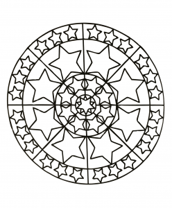 Cute Mandala to print and color, with stars of different sizes