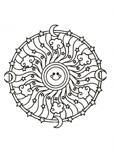 Sunny & positive Mandala coloring page