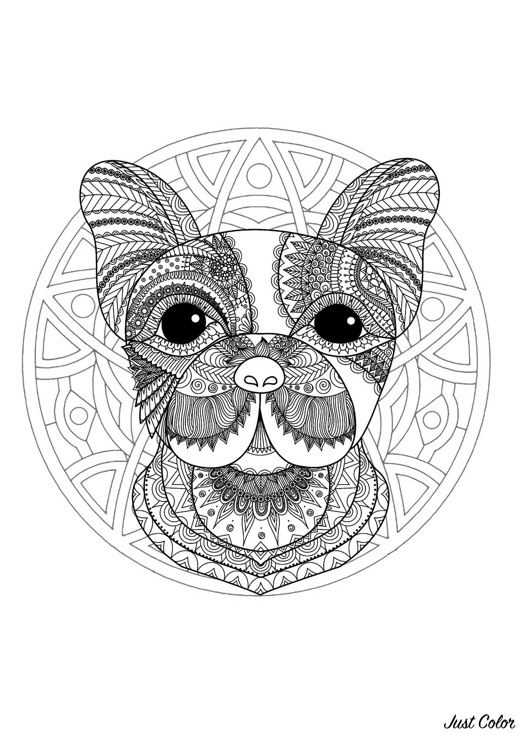 Complex Mandala Coloring Page With Cute Little Dog Head 1