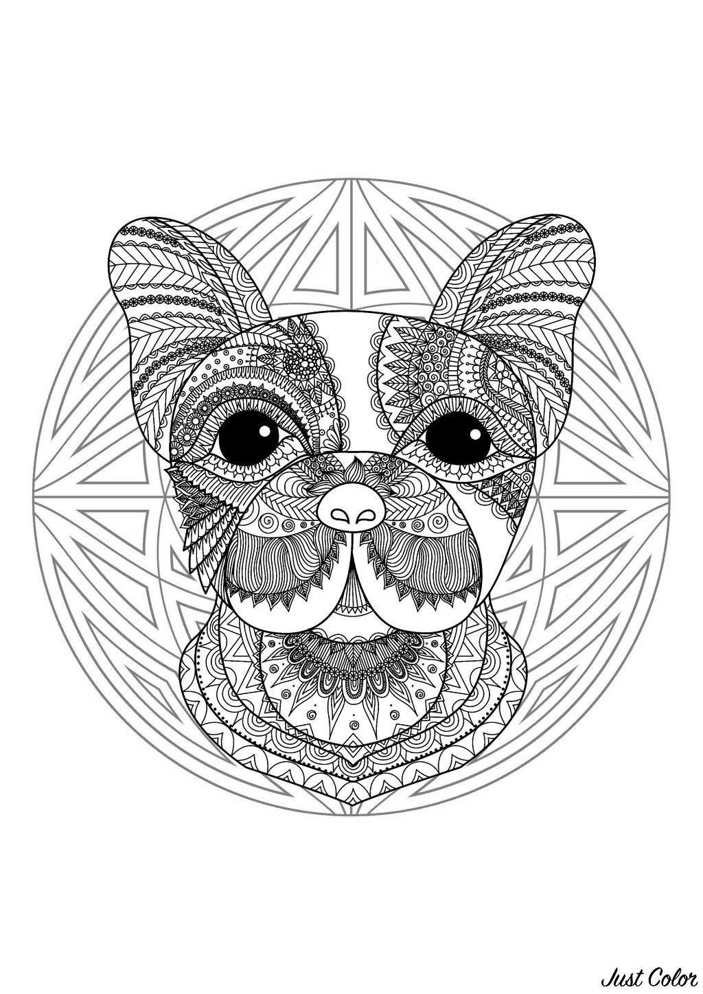 - Complex Mandala Coloring Page With Cute Little Dog Head 2