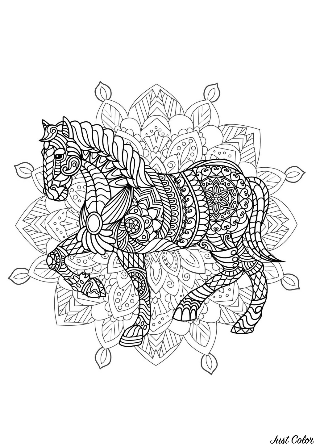 Horse integrated in a difficult Mandala. Many small details and little areas for a Mandala very original and harmonious. Do whatever it takes to get rid of any distractions that may interfere with your coloring.