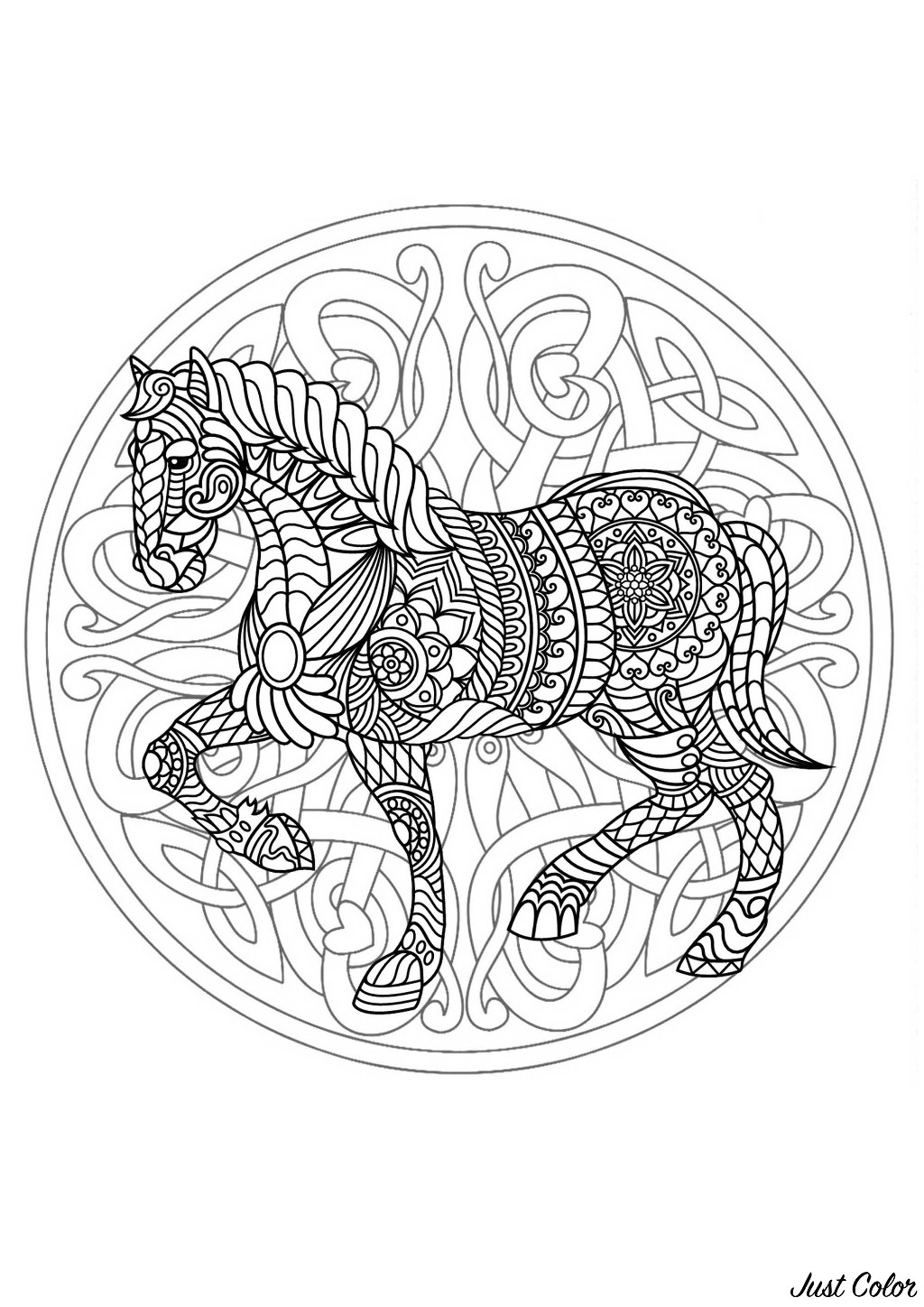 Horse added in a difficult Mandala. Prepare your pencils and pens to color this incredible Mandala coloring page with little details. It can sometimes be even more relaxing when coloring and passively listening to music : don't hesitate to do it !