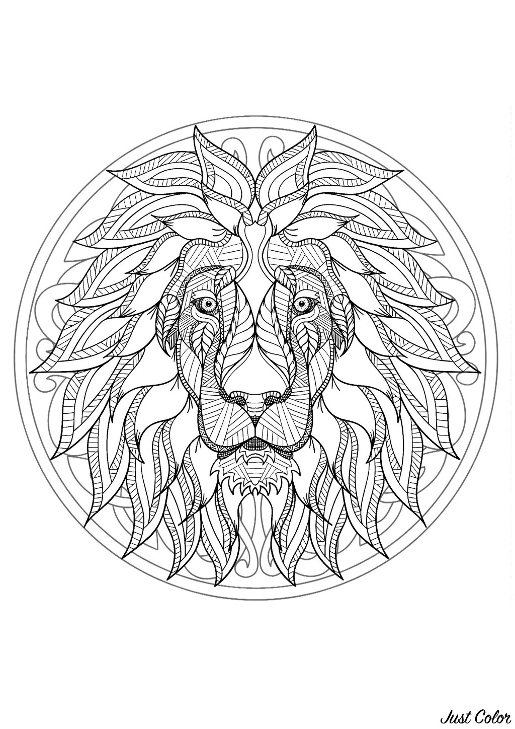 Complex Mandala Coloring Page With Majestic Lion Head 1 Difficult