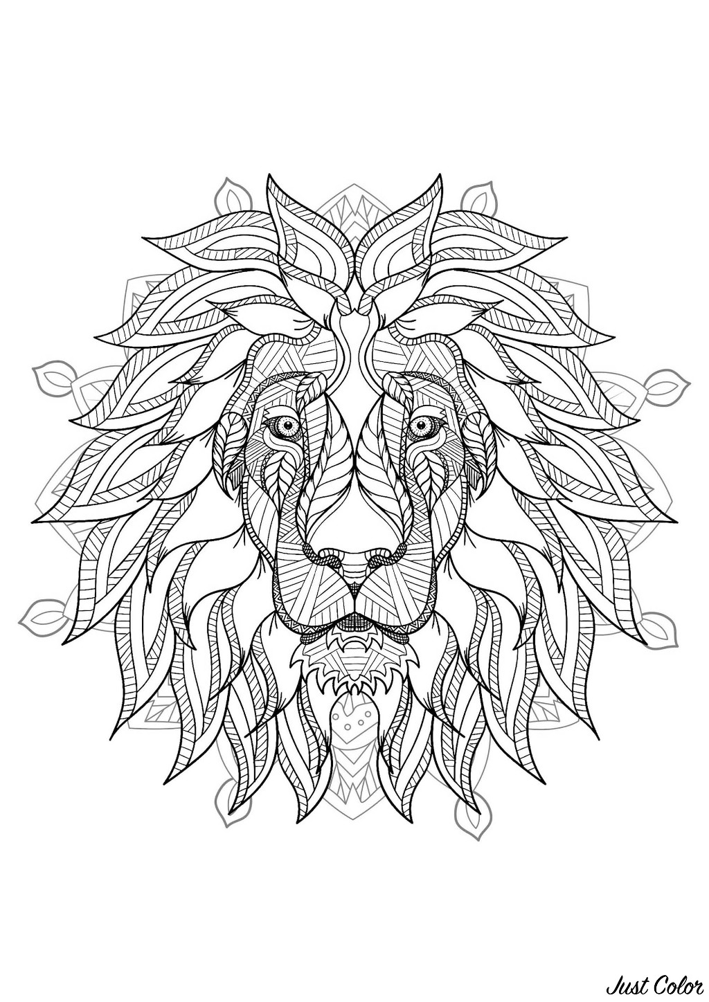 Lion head in a difficult mandala if you are ready to color during a long
