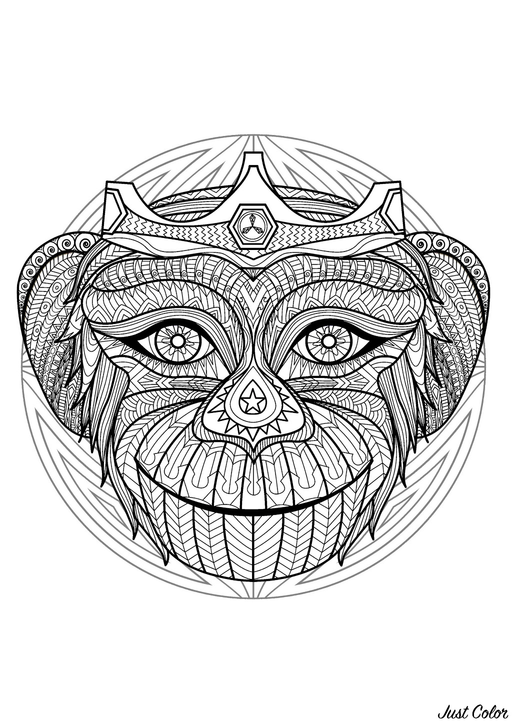 Complex Mandala Coloring Page With Monkey Head 2