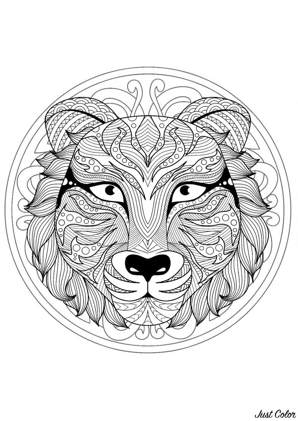Tiger head in a difficult Mandala. Many small details and little areas for a Mandala very original and harmonious. Do whatever it takes to get rid of any distractions that may interfere with your coloring.
