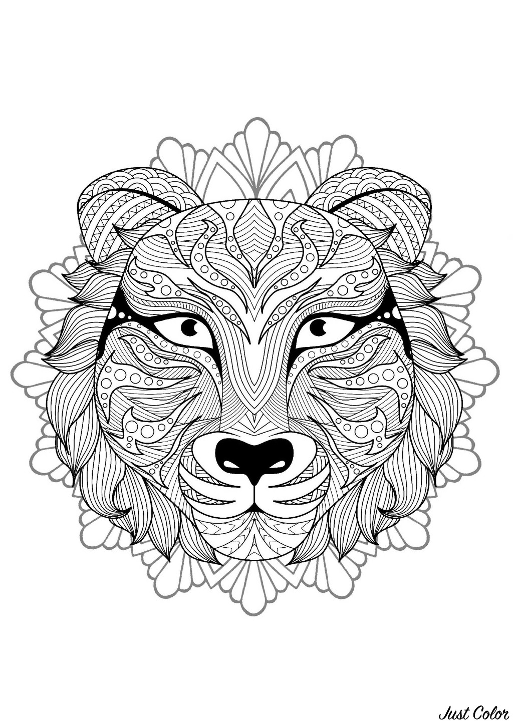 Tiger head in a difficult Mandala. Prepare your pencils and pens to color this incredible Mandala coloring page with little details. It can sometimes be even more relaxing when coloring and passively listening to music : don't hesitate to do it !