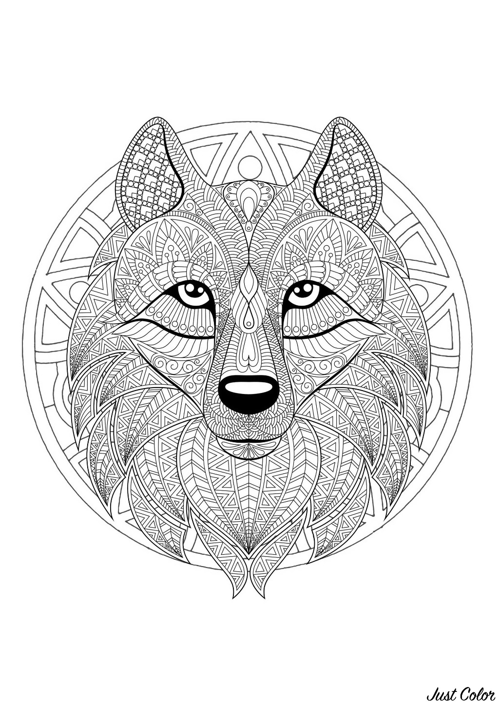 20+ Free Printable Wolf Coloring Pages for Adults ... | 1448x1024