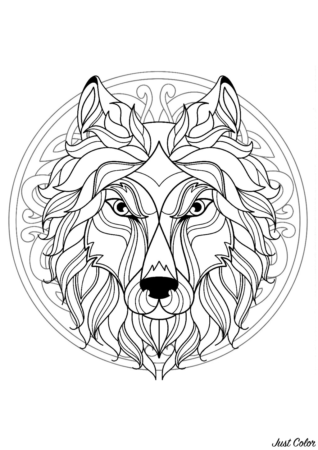 Wolf head in a difficult Mandala. Many small details and little areas for a Mandala very original and harmonious. Do whatever it takes to get rid of any distractions that may interfere with your coloring.