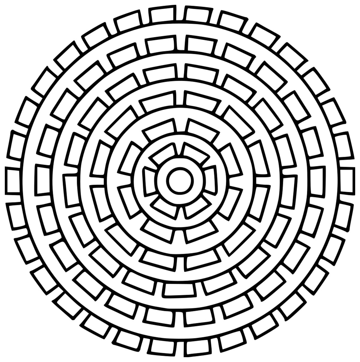 A Mandala coloring page with only one pattern, repeated in each levels. You can use as colors as you want, or just one.