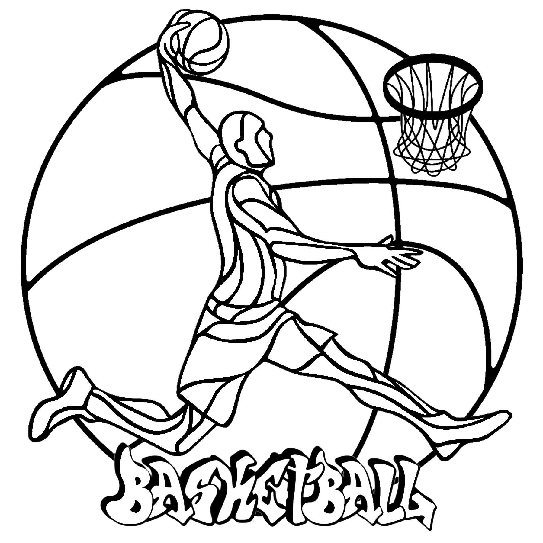 A simple Mandala (in fact a Basketball) with a player and the graffiti 'Basketball'