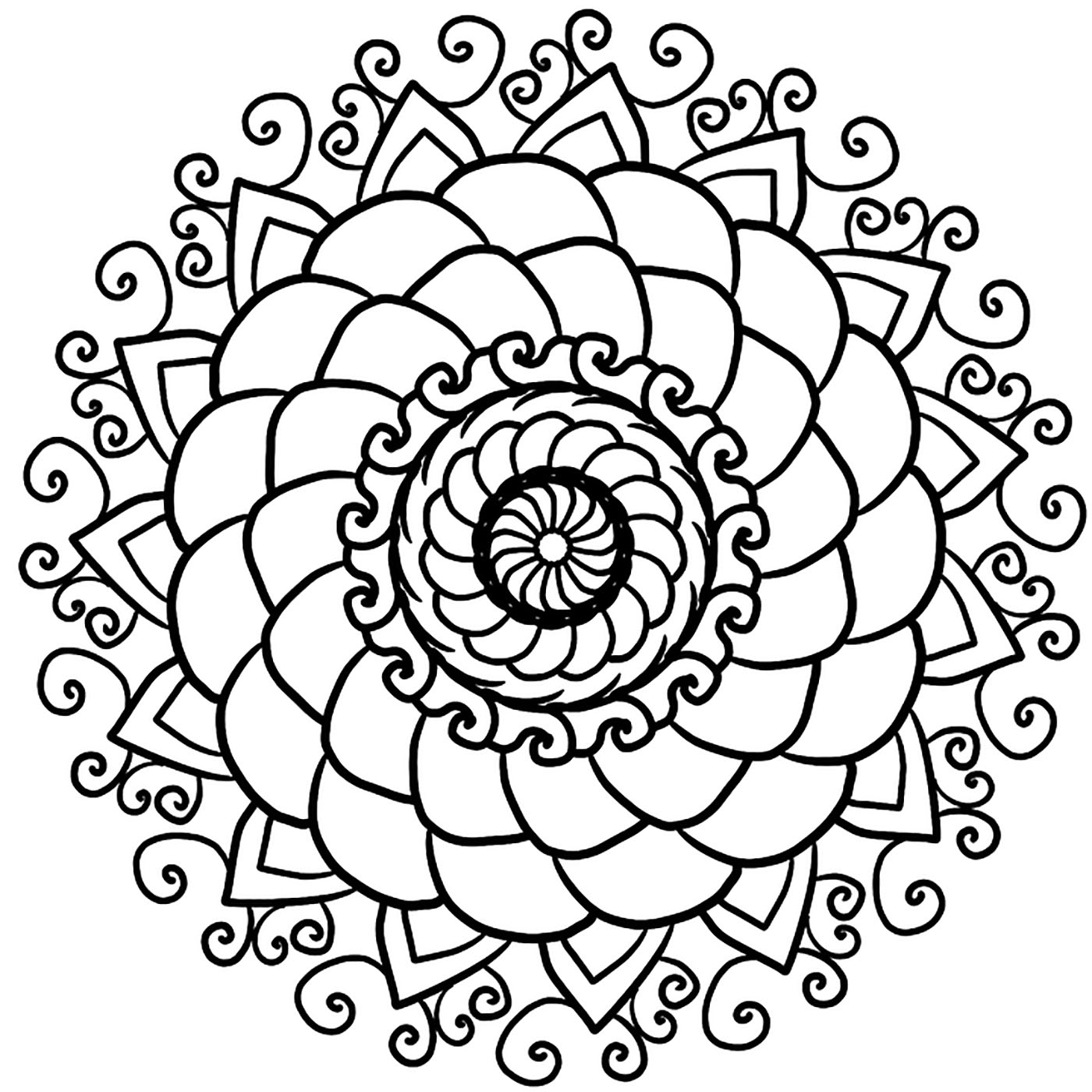 This Mandala has several levels and types of patterns, it is quite simple, but it will bring you peace and serenity.