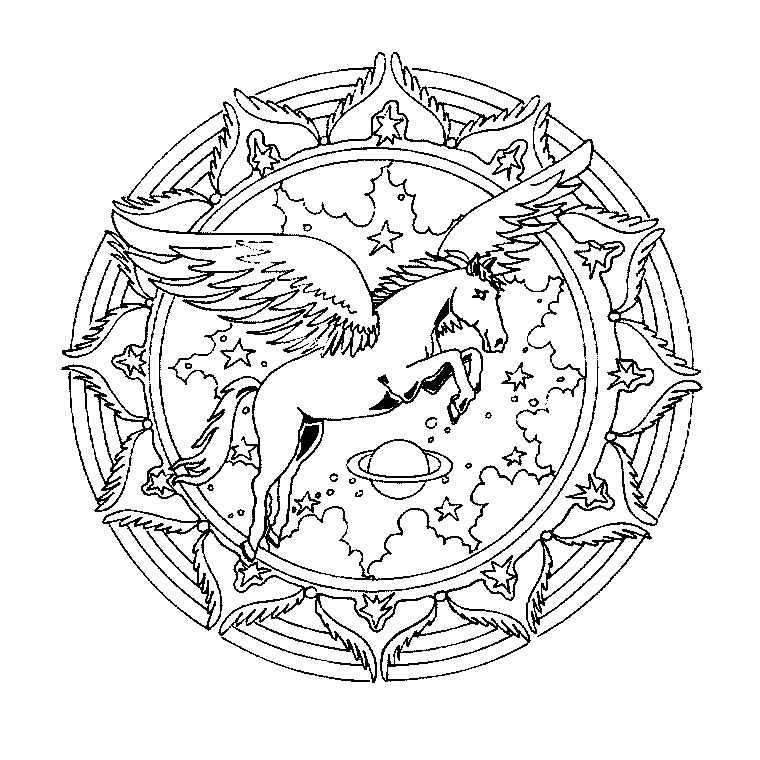 Winged horse Mandala