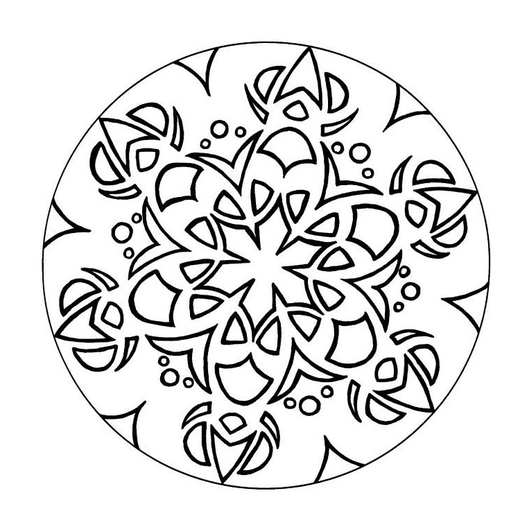 Simple Mandala Template for beginner. Few details in this fairly simple Mandala, which will suit children and adults looking for simplicity. You must clear your mind and allow yourself to forget all your worries and responsibilities.