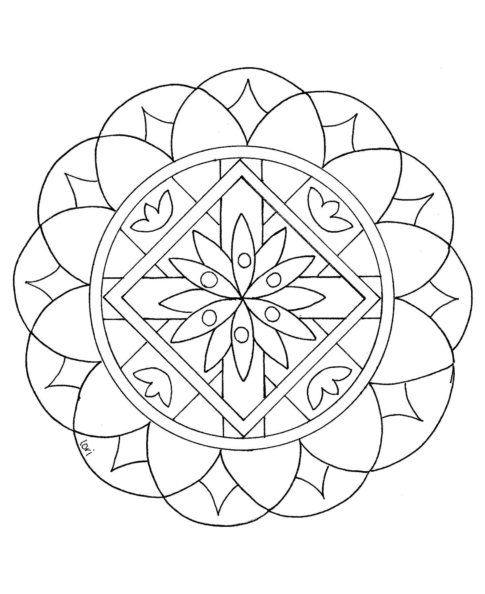 Easy mandalas for kids 100 mandalas zen anti stress for Simple geometric designs coloring pages