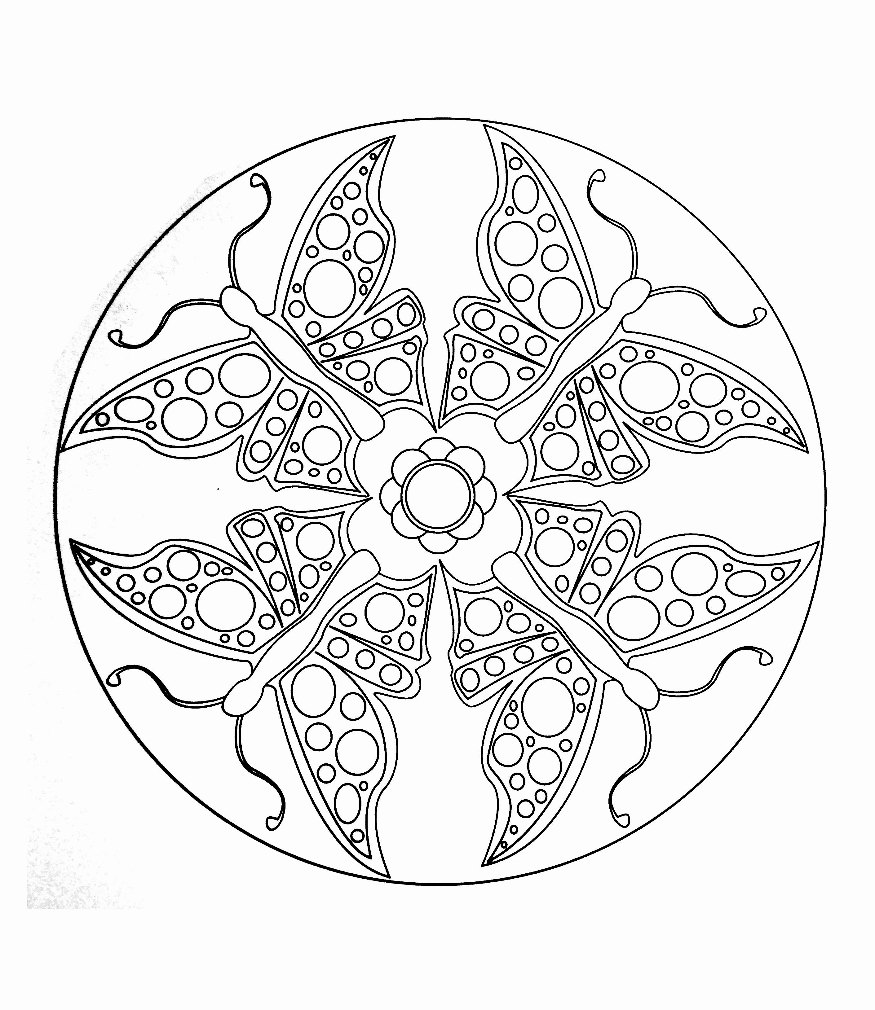 A Mandala coloring page easy to color, perfect for kids, with big areas to color. Children can color the shapes and figures anyway they like. It also gives your kids a sense of accomplishment when he finishes coloring a page.