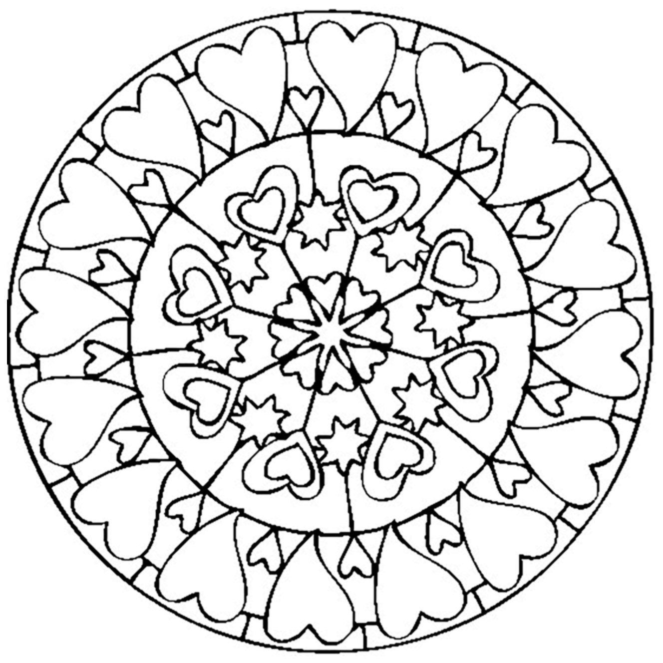 - Mandala Coloring Page With Hearts - Easy Mandalas For Kids - 100