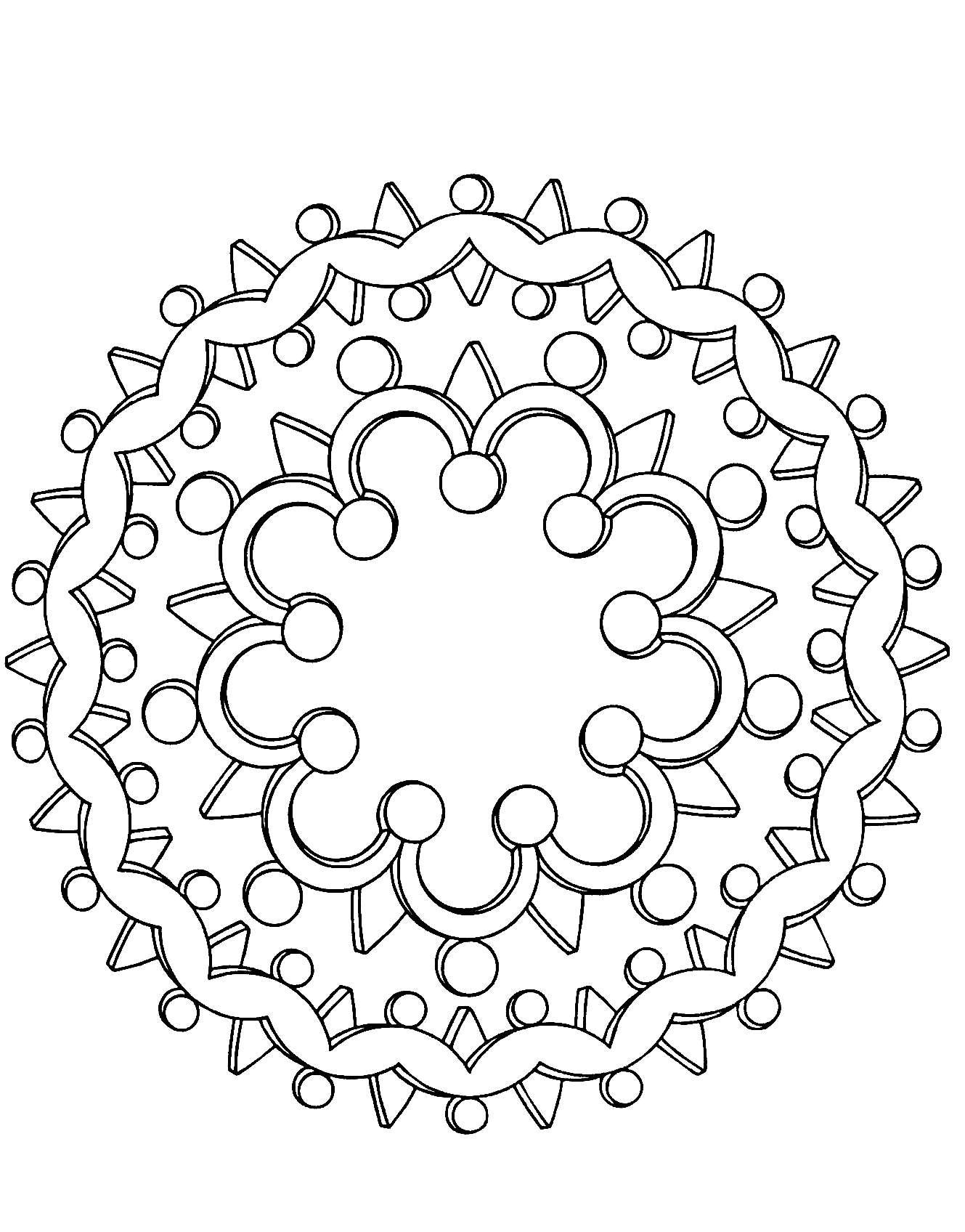 A perfect Mandala if you want simplicity or if you have little time to color. Feel free to let your instincts decide where to color, and what colors to choose.
