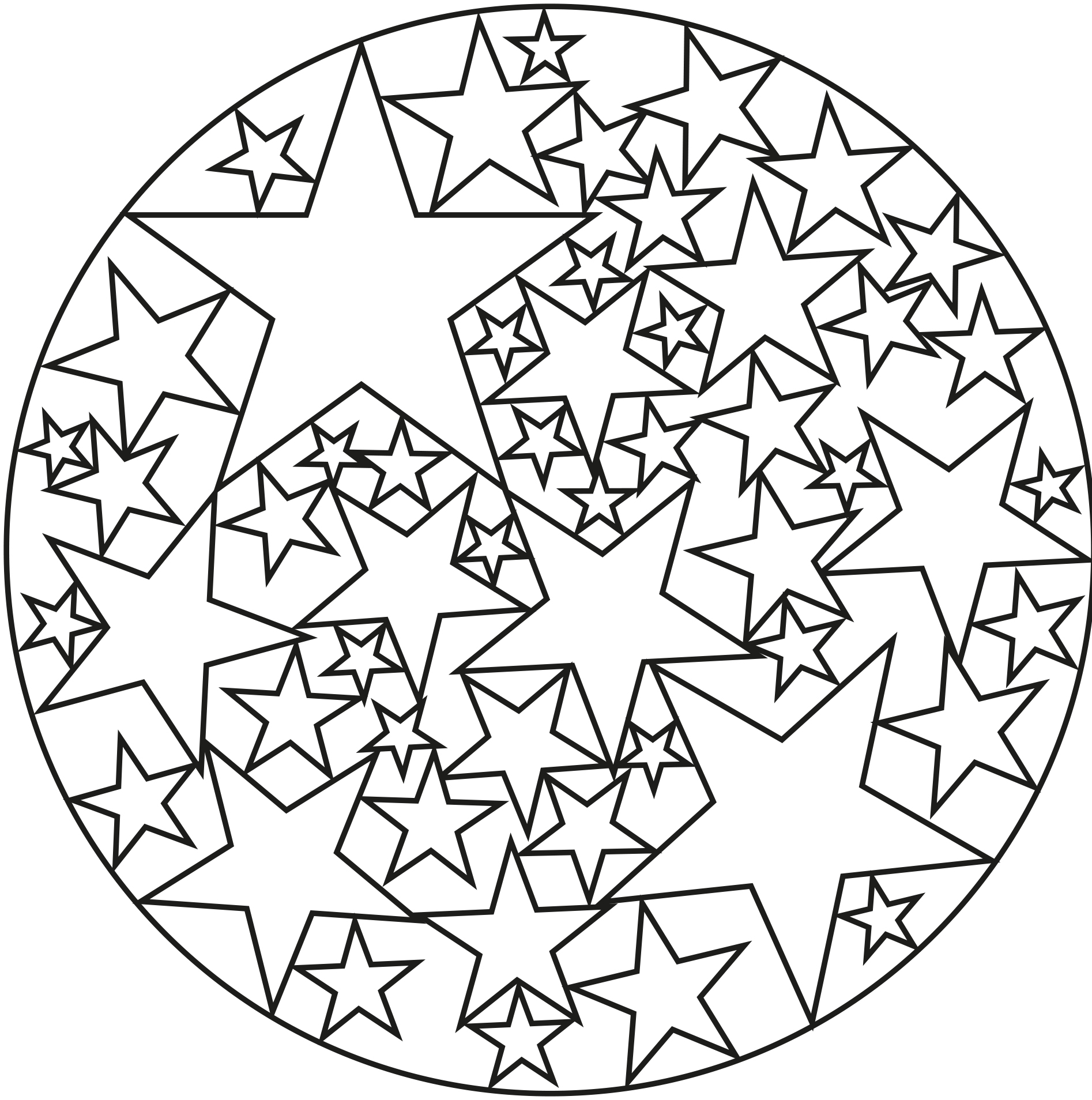 Happy Mandala with stars - Easy Mandalas for kids - 100% ...
