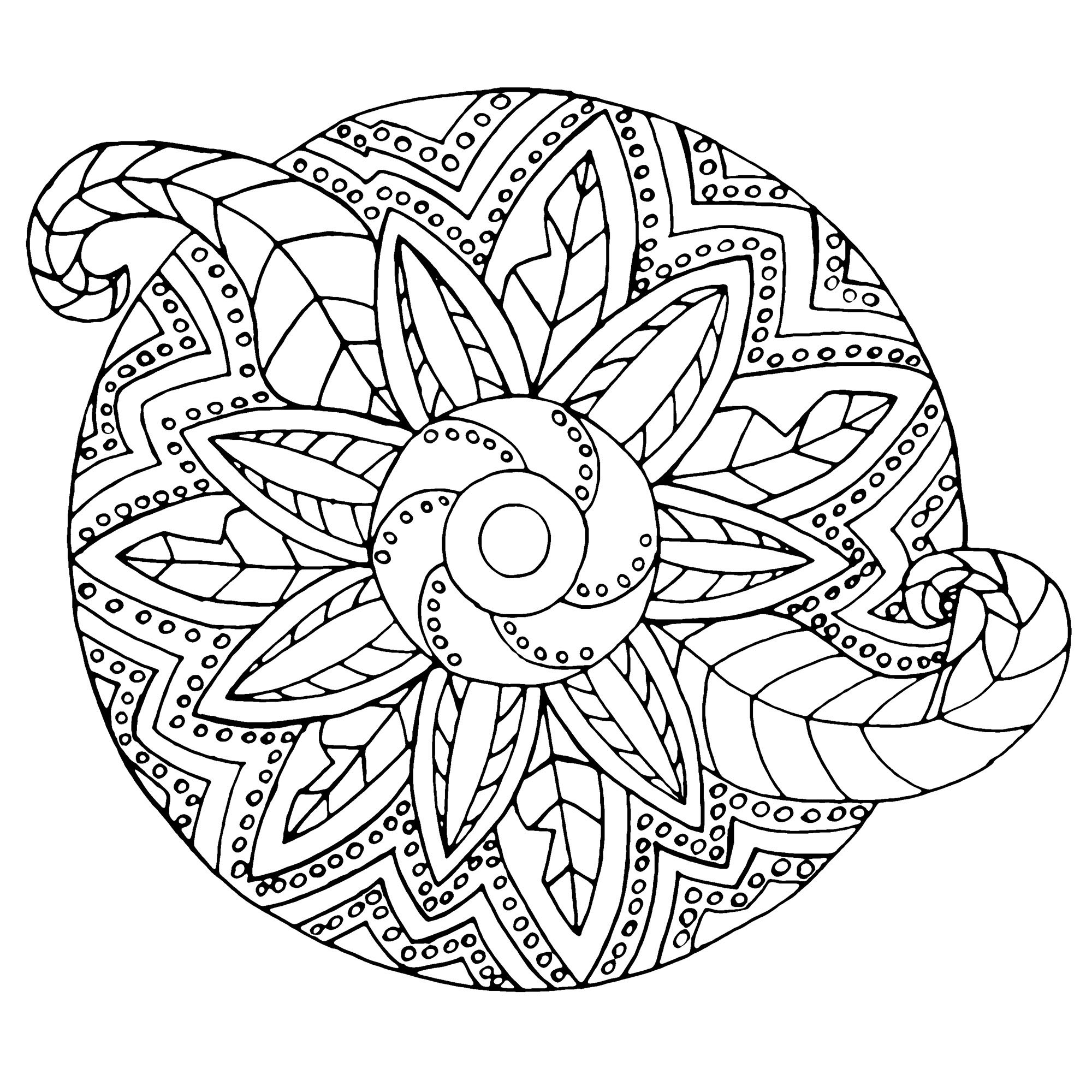 Cute Mandala with both metallic and vegetal forms. A Mandala coloring page easy to color, perfect for the children, with large areas to color. Do whatever it takes to get rid of any distractions that may interfere with your coloring.