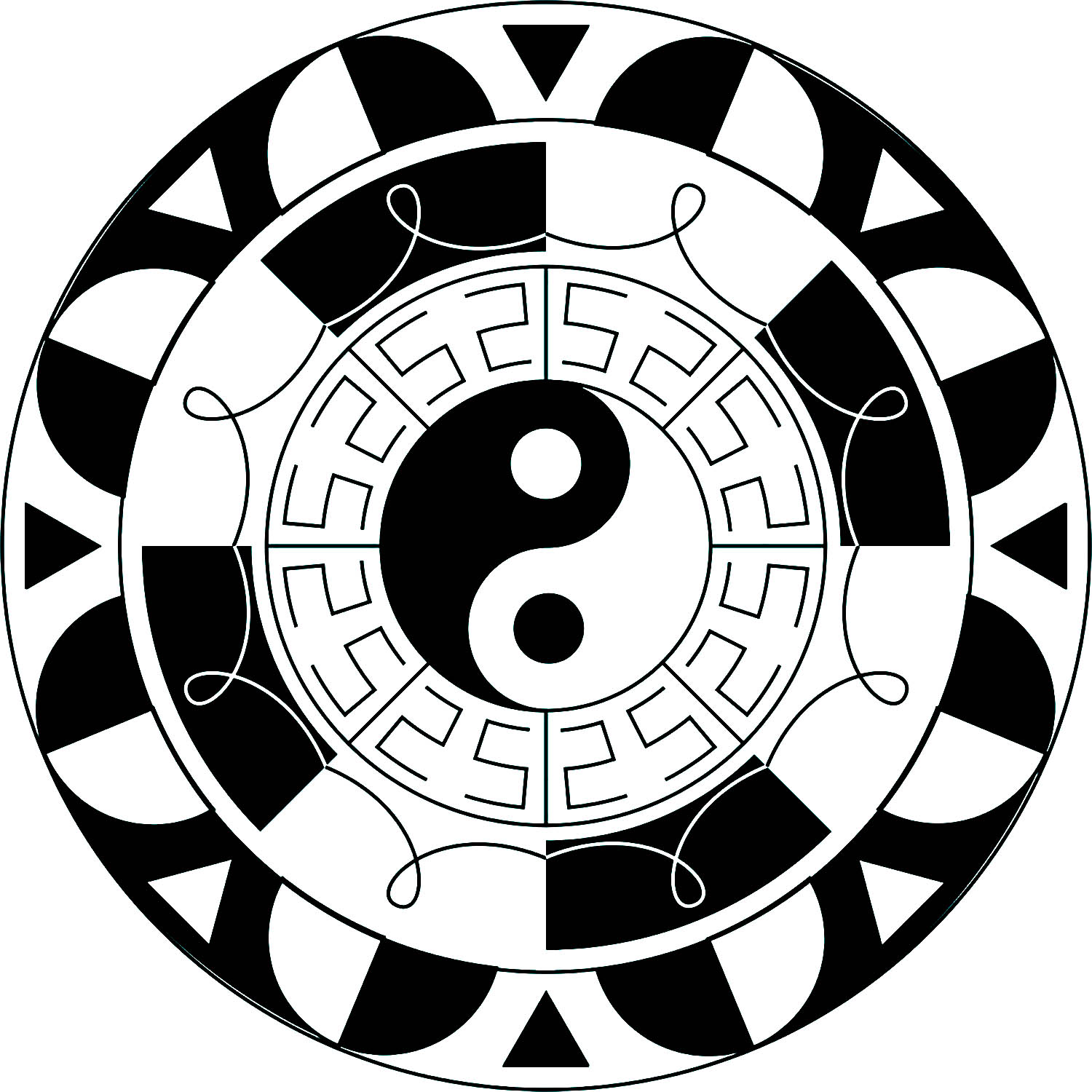 Simple Mandala with black & white elements, and the symbol Yin & Yang in the middle