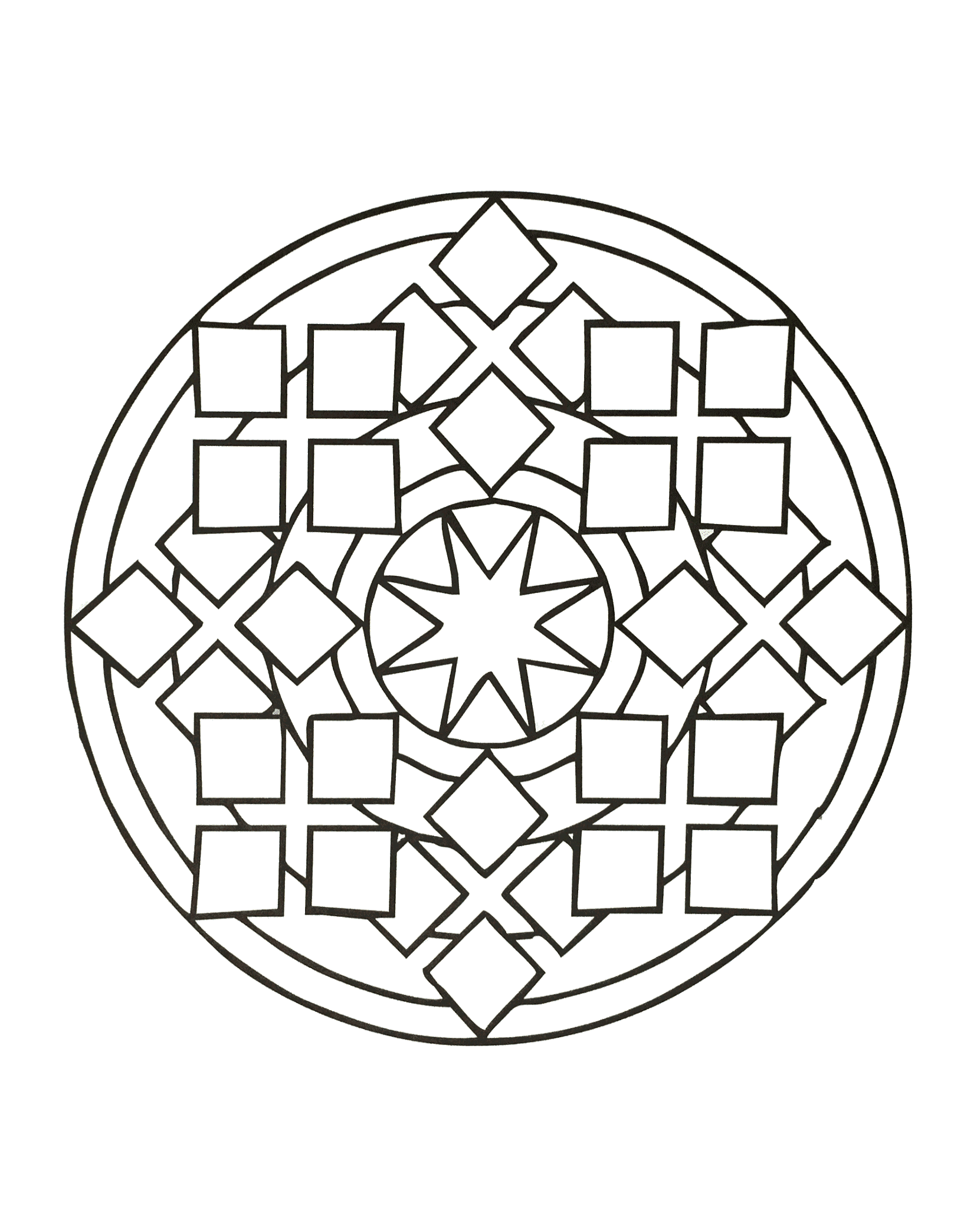 Simple Mandala with some squares - Easy Mandalas for kids ...