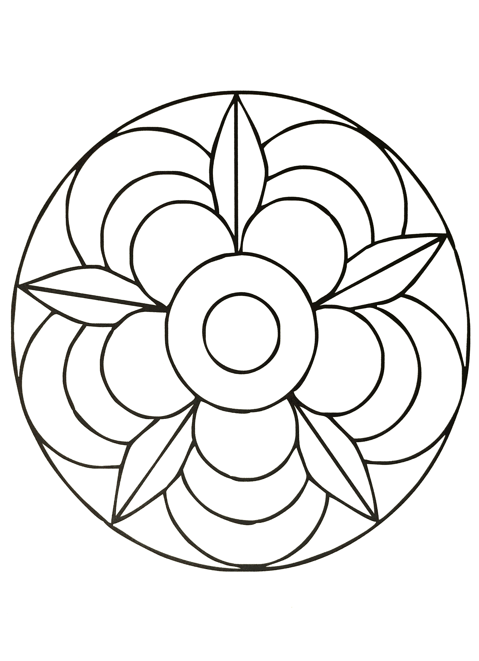 A mandala coloring page for the youngest, low level of difficulty. Coloring can help your children to learn the skill of patience. It allows your children to be relaxed and comfortable while creating a piece of art.