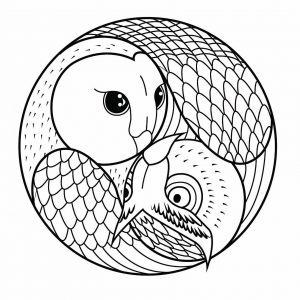 Simple Mandala with 2 owls