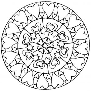 Mandala coloring page with hearts