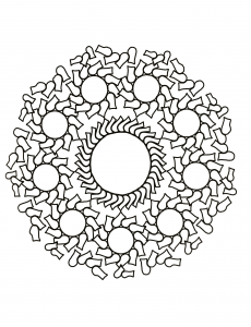 Mandala with circles and strange forms
