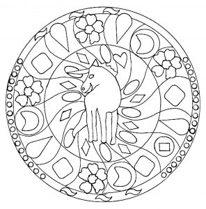 Mandala for kids with beautiful horse