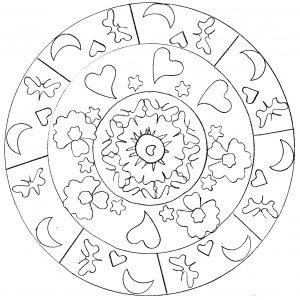 Hand drawn Mandala with hearts
