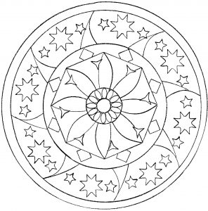 Mandala coloring page with stars and big flower