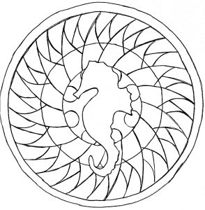 Simple Mandala with Sea horse