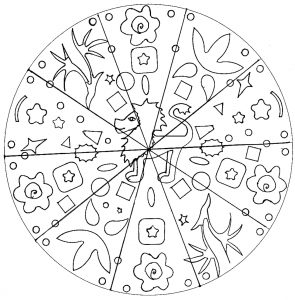 Simple Mandala for kids with lion (hand drawn)